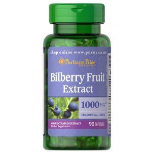 Экстракт черники, Bilberry 4:1 Extract, Puritan's Pride, 1000 мг, 90 гелевых капсул