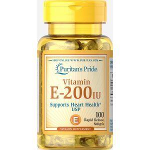 Витамин Е-200, Vitamin E-200 iu, Puritan's Pride, 100 капсул