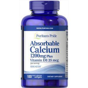 Кальций и витамин Д3, Absorbable Calcium 1200 mg with Vitamin D3 1000 IU, Puritan's Pride,100 капсул