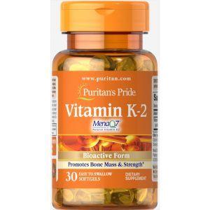 Витамин К-2, Vitamin K-2 (MenaQ7), Puritan's Pride, 50 мкг, 30 капсул