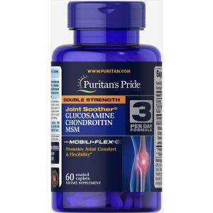Глюкозамин хондроитин и МСМ, Glucosamine, Chondroitin MSM, Puritan's Pride, двойная сила, 60 капсул