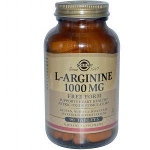 L-аргинин, Solgar, 1000 мг, 90 таблеток