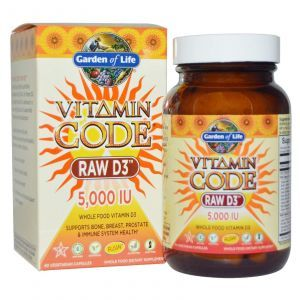 Сырые Витамины Д3, 5000 МЕ, Garden of Life, 60 кап.