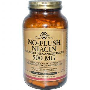 Ниацин (No-Flush Niacin), Solgar, 500 мг, 250 капсул