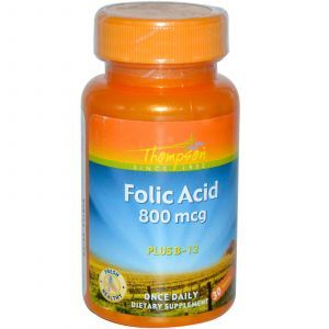 Фолиевая кислота и В12, Thompson, 800 мкг, 30 таблет