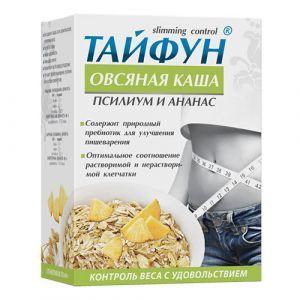 """Овсяная каша """"Тайфун"""", ФитоБиоТехнологии, псиллиум + ананас, для похудения, 5 пакетиков по 40 г"""