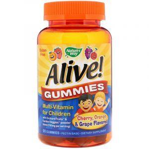 Мультивитамины для детей, вишня, виноград и апельсин, Alive! Multi-Vitamin, Nature's Way, 90 жевательных конфет (Default)