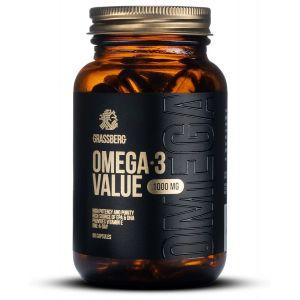 Омега-3, Omega-3 Value, Grassberg, 1000 мг, 60 капсул