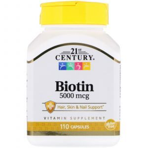 Биотин, Biotin, 21st Century, 5000 мкг, 110 капсул (Default)