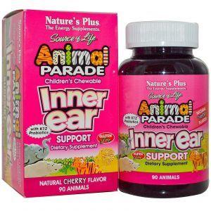 Жевательные витамины для детей с вишневым вкусом, Inner Ear Support, Nature's Plus, 90 шт