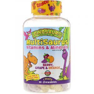 Мультивитамины и минералы для детей, Dinosaurs, MultiSaurus, KAL, вкус ягод, апельсина и винограда, 90 жевательных конфет