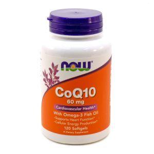 Коэнзим Q10 с рыбьим жиром, CoQ10, Now Foods, 60 мг 120 ка