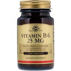 Витамин В6, Vitamin B6, Solgar, 25 мг, 100 таблеток (Default)