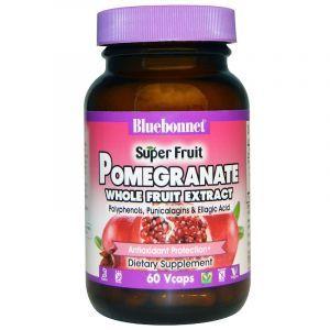 Экстракт плодов граната, Pomegranate Whole Fruit Extract, Bluebonnet Nutrition, Super Fruit, 60 капсул (Default)