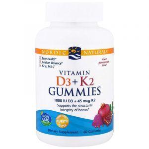 Витамин D-3 и Витамин К-2, Vitamin D3 + K2, Nordic Naturals, вкус граната, 60 жевательных конфет