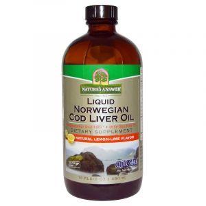 Рыбий жир из печени трески, Cod Liver Oil, Nature's Answer, норвежский, лимон-лайм, 480 мл (Default)