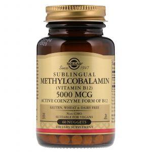 Витамин В12 (метилкобаламин), Methylcobalamin (Vitamin B12), Solgar, сублингвальный, 5000 мкг, 60 таблеток (Default)