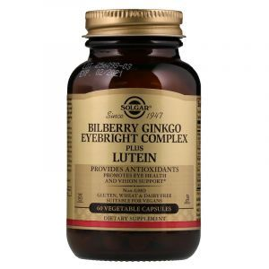 Черника, гинкго, очанка плюс лютеин, Bilberry Ginkgo Eyebright Lutein, Solgar, комплекс, 60 капсул (Default)
