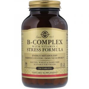 Комплекс витаминов В + С, B-Complex with Vitamin C, Solgar, стресс формула, 250 таблеток (Default)