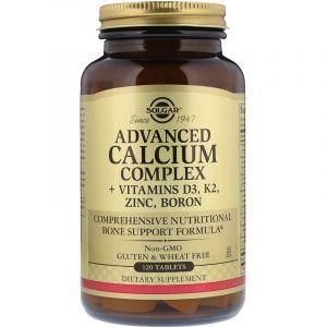 Кальций с витаминами, Calcium Complex + Vitamins D3, K2, Solgar, комплекс, 120 таблеток (Default)