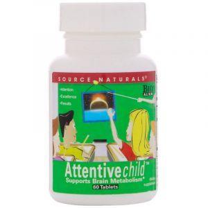 Внимательный ребенок, Attentive Child, Source Naturals, 60 таблеток (Default)