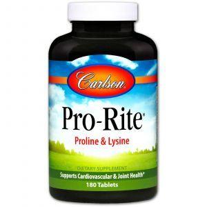 Пролин лизин, L- пролин L- лизин, Proline & Lysine, Carlson Labs, 180 таблеток