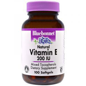 Витамин Е, Vitamin E, Bluebonnet Nutrition, 200 МЕ, 100 капсул (Default)