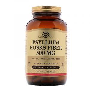 Подорожник, Psyllium Husks Fiber, Solgar, 500 мг, 200 капсул (Default)