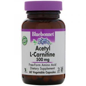 Ацетил -L карнитин, Acetyl L-Carnitine, Bluebonnet Nutrition, 500 мг, 60 капсул. (Default)