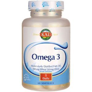 Омега-3, Omega 3 Fish 180/120, Kal, 1000 мг, 60 гелевых капсул