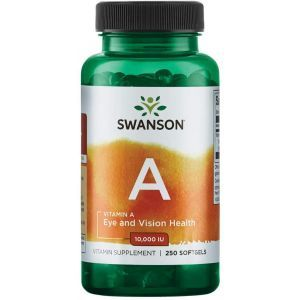 Витамин А, Vitamin A. Swanson, 10000 МЕ (3000 мкг), 250 гелевых капсул