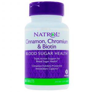 Корица для снижения сахара, Cinnamon Biotin Chromium, Natrol, 60 таблет