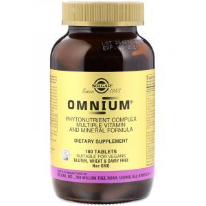 Омниум, мультивитамины и минералы, Omnium, Multiple Vitamin and Mineral, Solgar, 180 таблеток (Default)