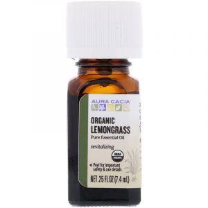 Масло лимонника (Lemongrass), Aura Cacia, органическое, чистое, эфирное, 7,4 мл (Default)