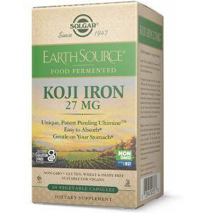 Железо, Earth Source® Koji Iron, Solgar, 27 мг, ферментированное, 60 вегетарианских капсул