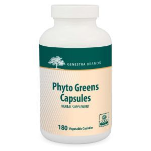 Витамины с пищевыми волокнами и ферментами, Phyto Greens, Genestra Brands, 180 вегетарианских капсул