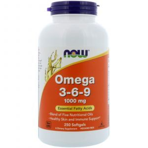 Омега 3 6 9, Omega 3-6-9, Now Foods, 1000 мг, 250 гелевых ка