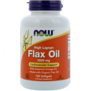 Льняное масло, Flax Oil, Now Foods, 1000 мг, 120 гелевых кап
