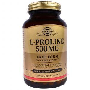 Пролин, L-Proline, Solgar, 500 мг, 100 капсу