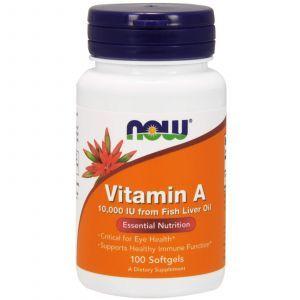 Витамин А, Vitamin A , Now Foods, 10000 МЕ, 100 кап