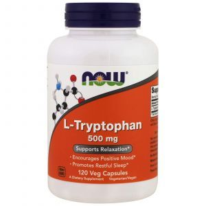 Триптофан, L-Tryptophan, Now Foods, 500 мг, 120 кап