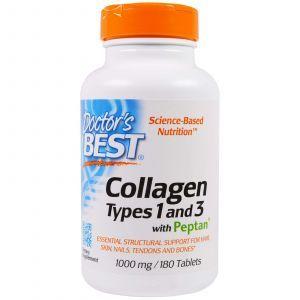Коллаген тип 1 и 3, Collagen, Doctors Best, 1000 мг, 180 табле