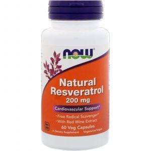 Ресвератрол (Resveratrol), Now Foods, натуральный, 200 мг, 60 кап