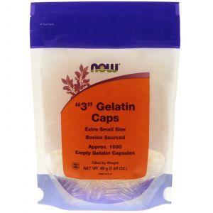 "Пустые капсулы ""3"", ""3"" Gelatin Caps, Now Foods, 1000 капсу"