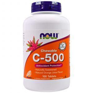 Витамин С жевательный, Chewable C-500, Now Foods, 100 таблет
