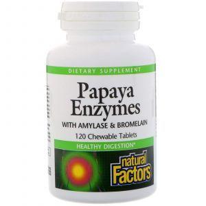 Ферменты для пищеварения, Chewable Papaya Enzymes, Natural Factors, 120 табле