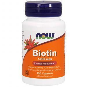 Биотин, Biotin, Now Foods, 1000 мкг, 100 капсу