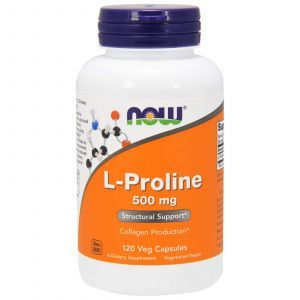 Пролин, L-Proline, Now Foods, 500 мг, 120 капс