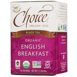 Черный чай Английский завтрак, Choice Organic Teas, 16 штук