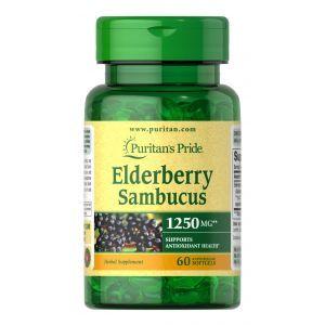 Черная бузина, Elderberry Sambucus, Puritan's Pride,1250 мкг, 60 гелевых капсул